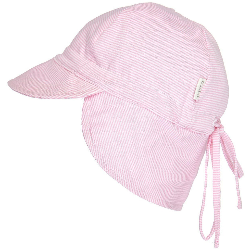 toshi flap cap baby sun hat in pink stripe
