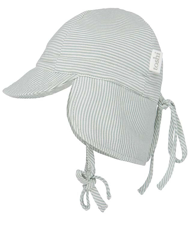 toshi baby flap ca p style sunhat in sage stripe