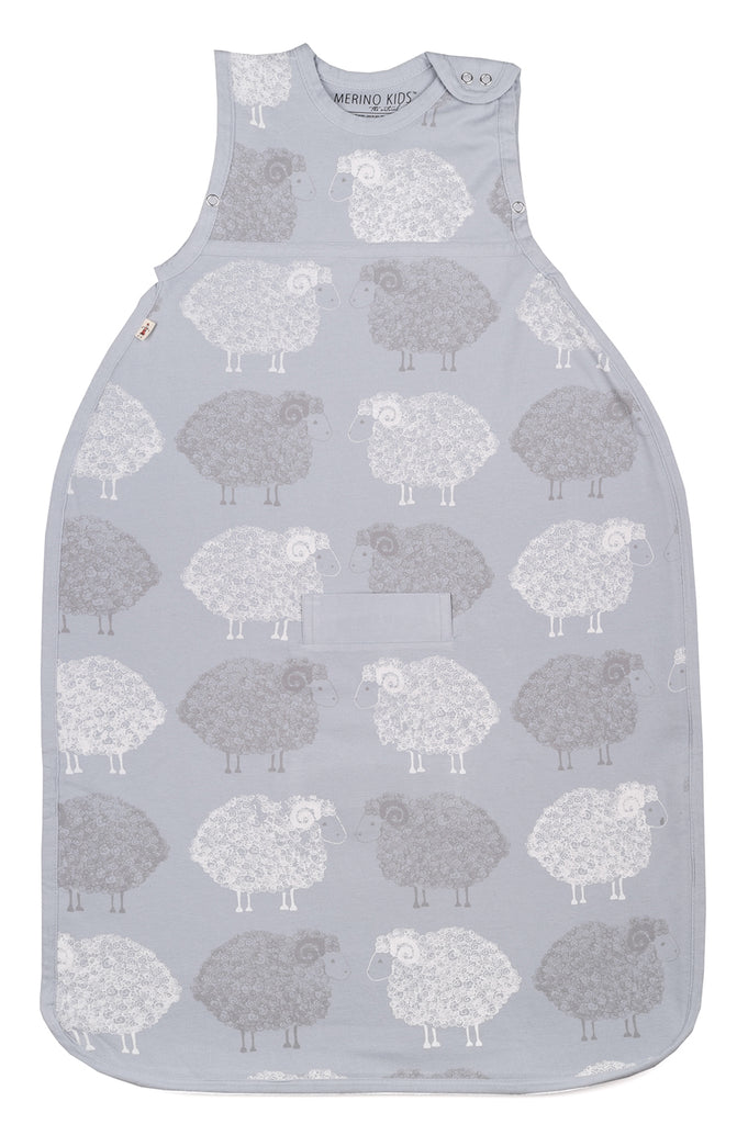 merino kids standard weight go go bag in a grey sheep pattern