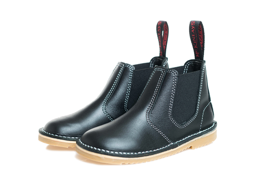 mckinlays hunter boot in black with tan sole