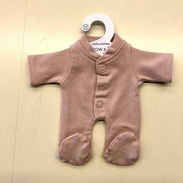burrow & be 21cm dolls sleep suit in dusty rose
