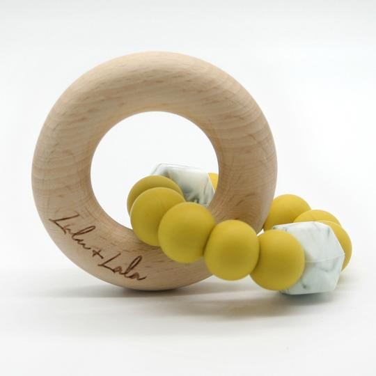lulu & lala wooden baby teether lotto in mustard