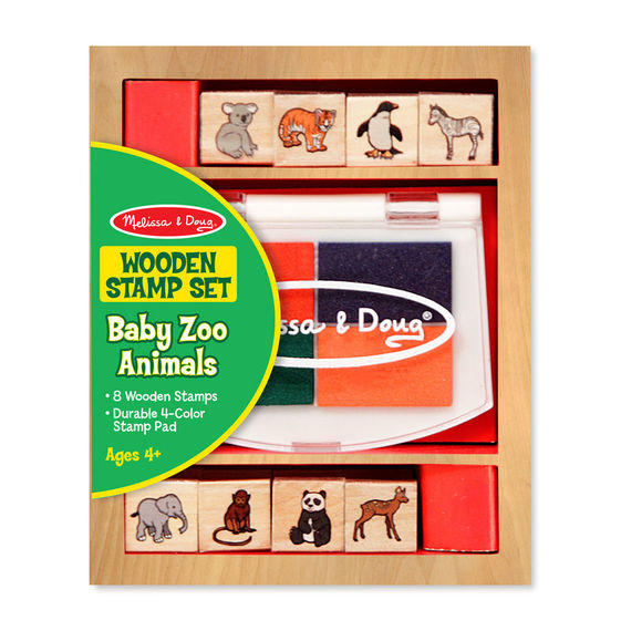 melissa & doug wooden stamp set baby zoo animals
