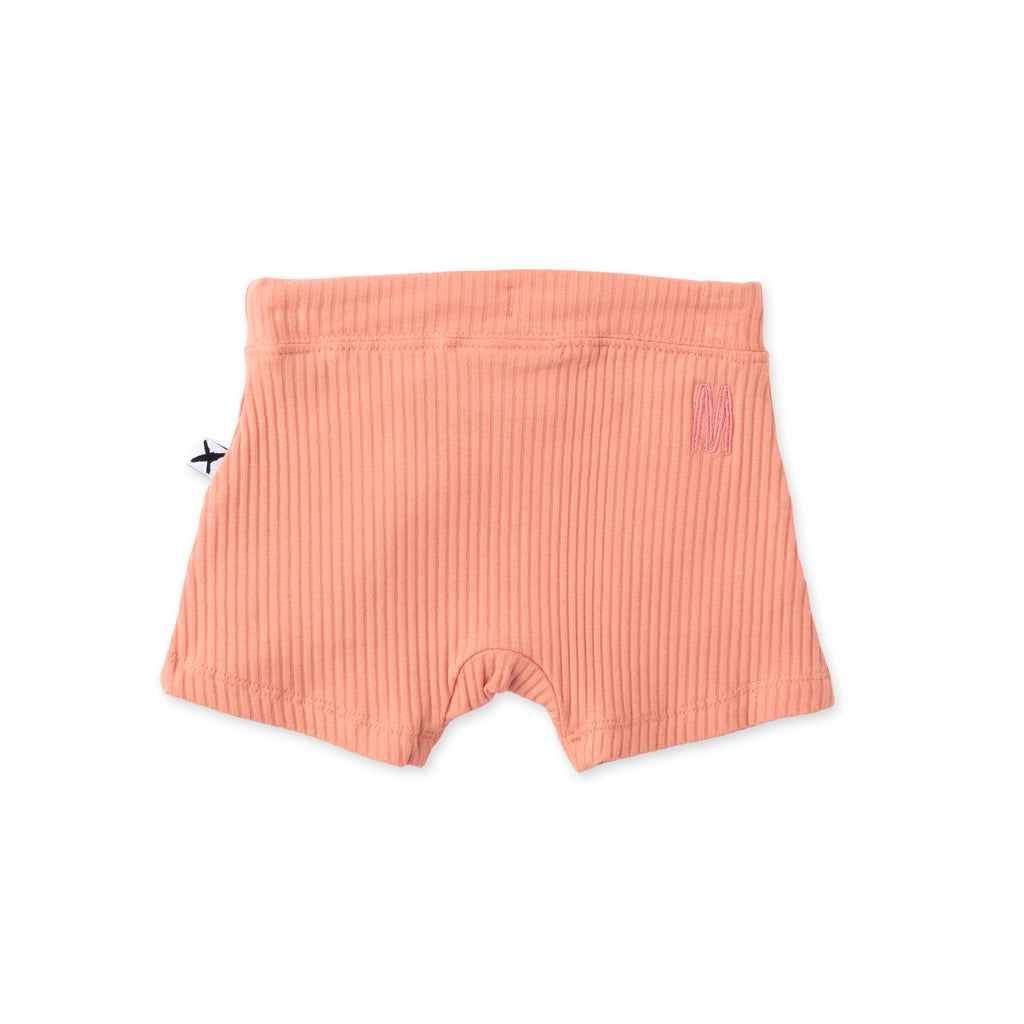 minti baby deluxe rib shorts in peach
