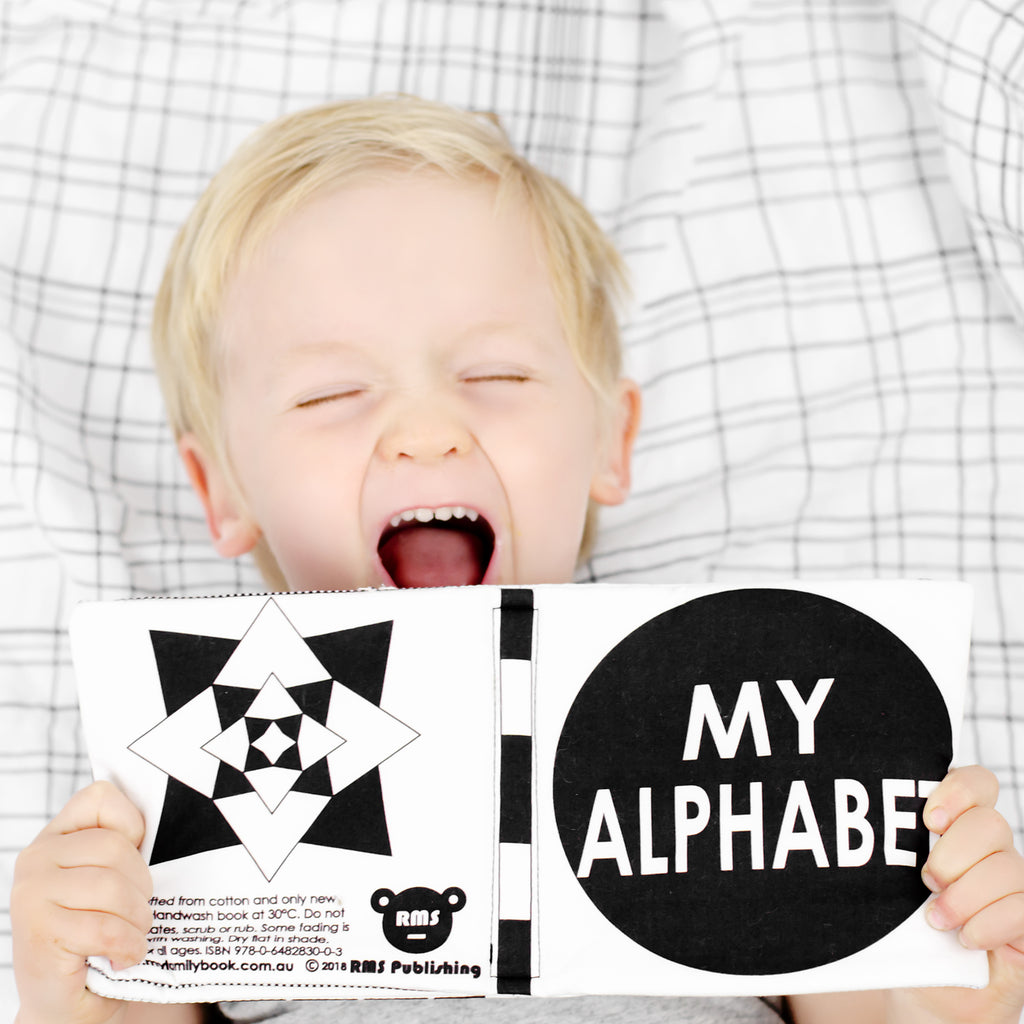 my alphabet black & white soft fabric book for babies