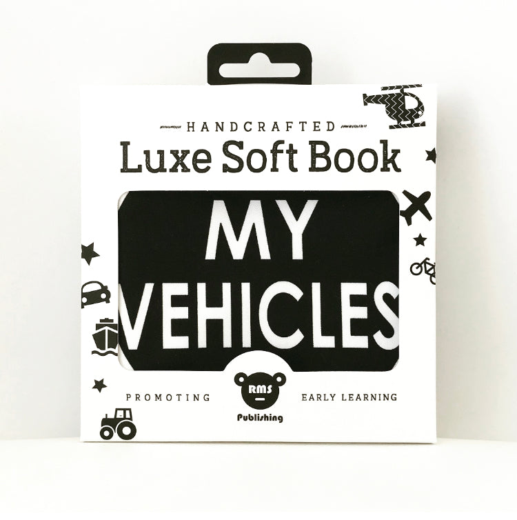 baby soft fabric vehicle book in black & white