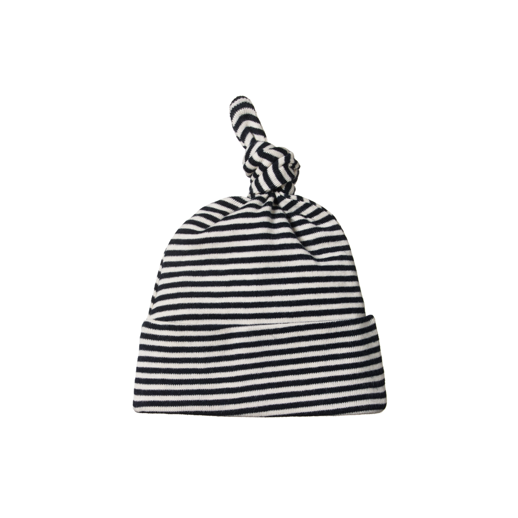 nature baby organic cotton baby knotted beanie in navy stripe