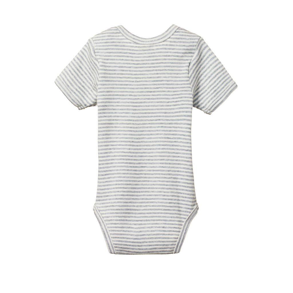 nature baby organic cotton short sleeve grey marl stripe bodysuit