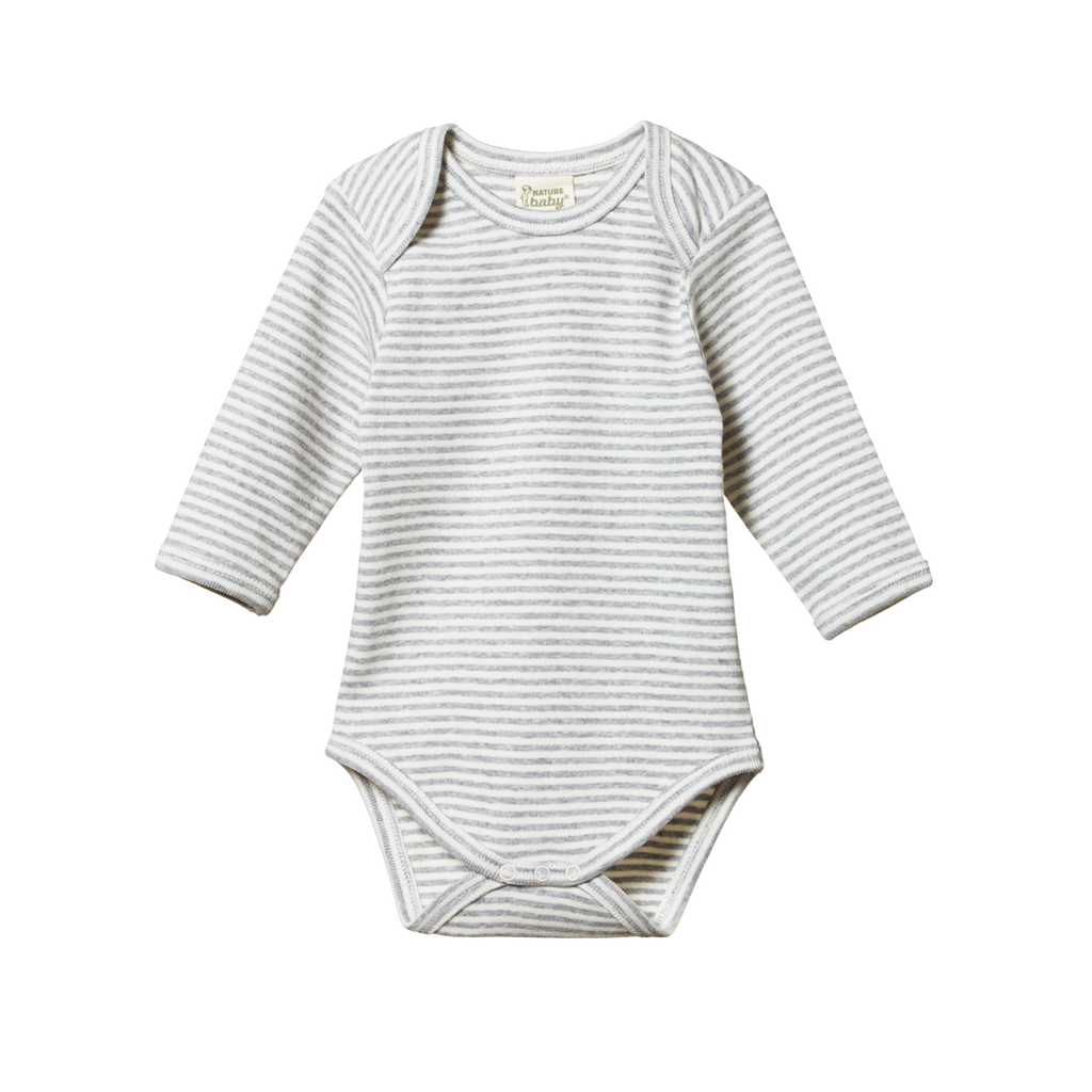 nature baby organic cotton long sleeve bodysuit in grey marl stripe