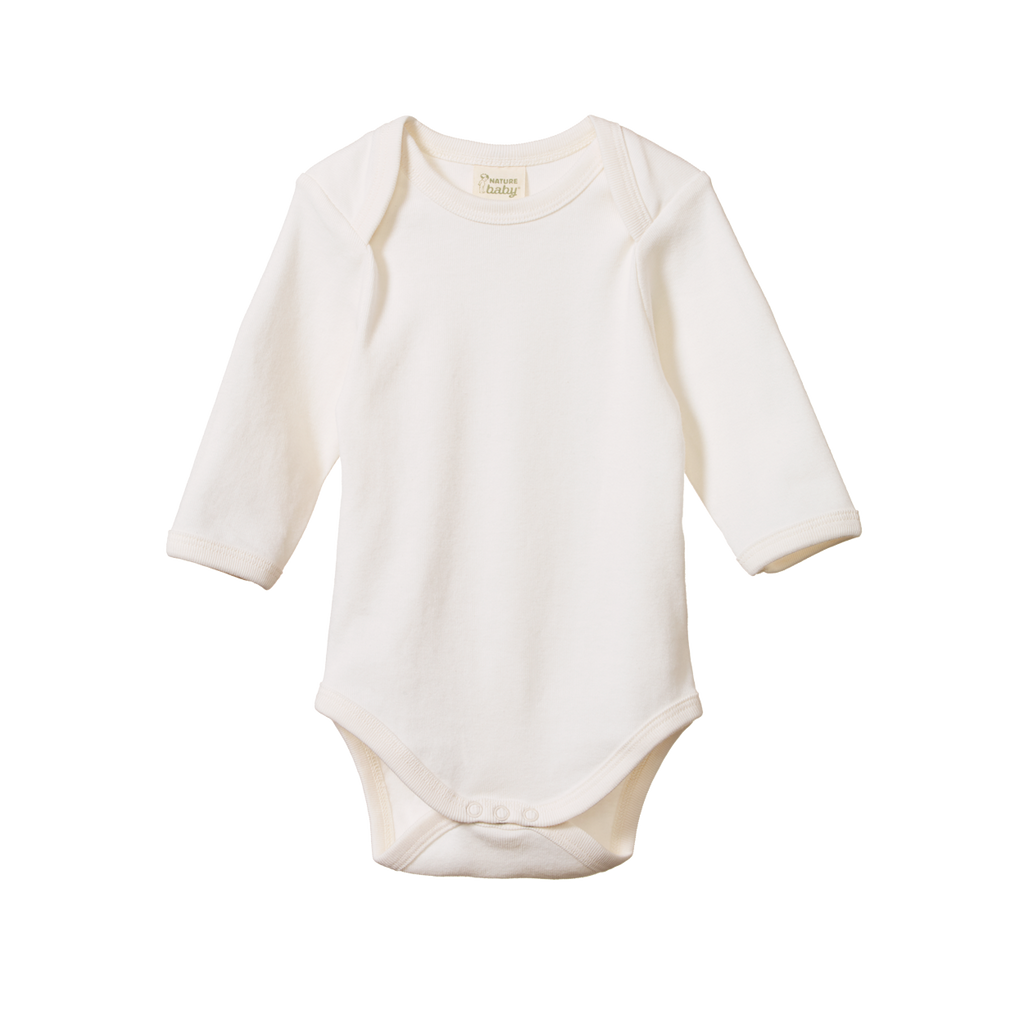 nature baby organic cotton long sleeve bodysuit in natural