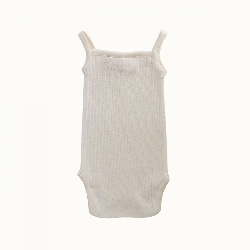 nature baby organic cotton camisole bodysuit in natural pointelle