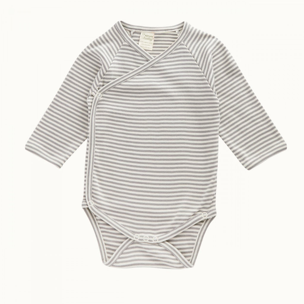 nature baby kimono l/s bodysuit  in grey stripe