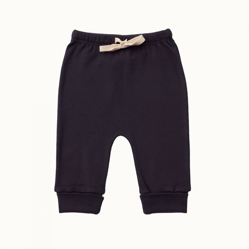 nature baby organic cotton drawstring pants in navy