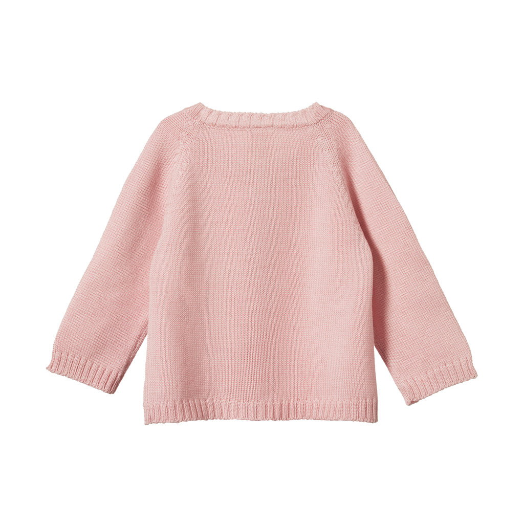 nature baby merino cardigan in rose bud