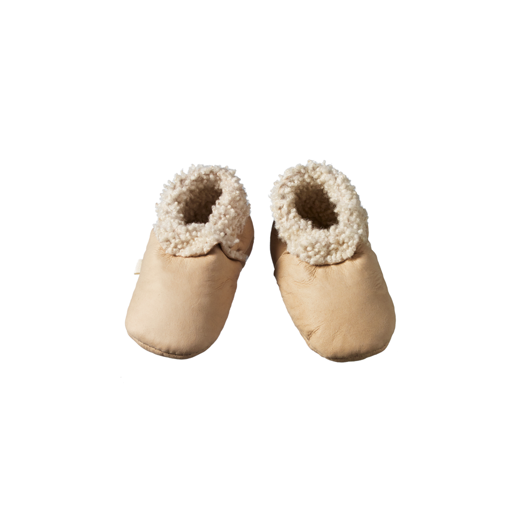 nature baby lambskin booties in cream