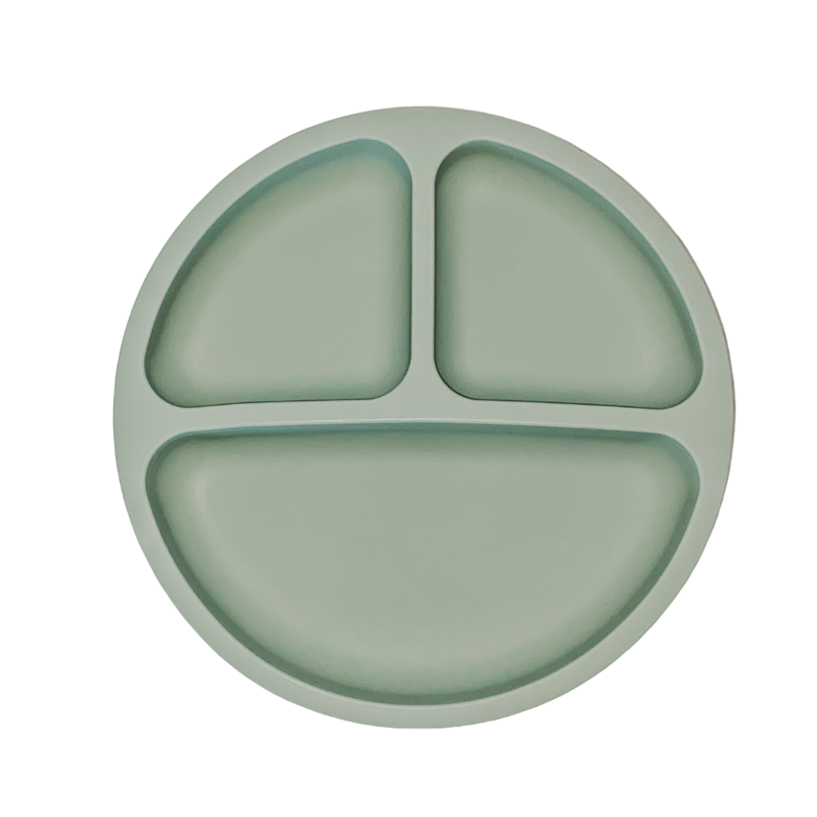 petite eats silicone suction plate in olive