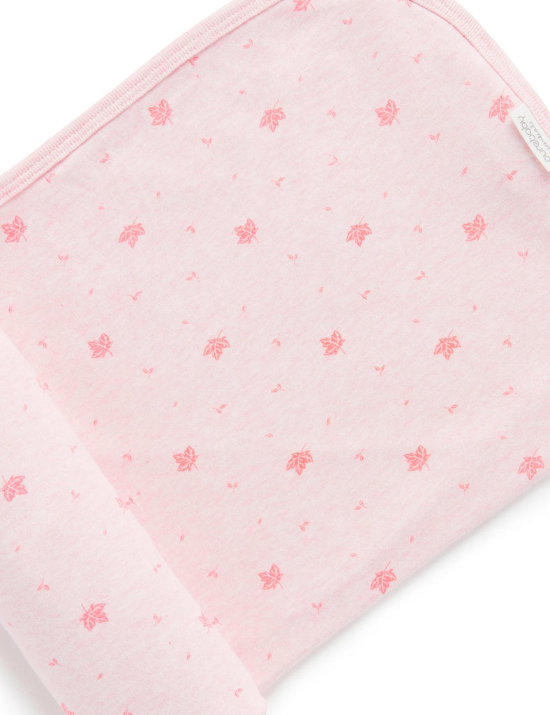 purebaby essentials bunny rug in pale pink leaf