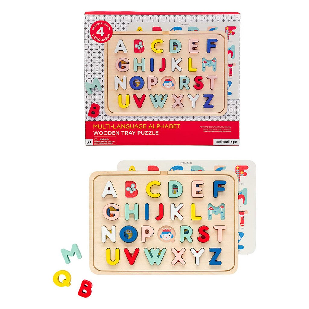 petit collage wooden tray puzzle alphabet