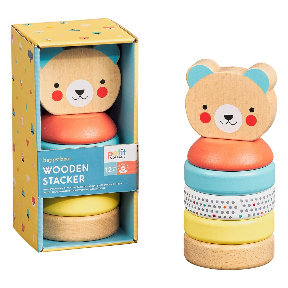 petit collage wooden stacker happy bear
