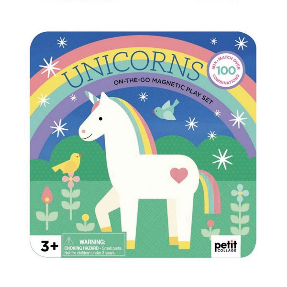 petit collage on the go magnetic play set unicorns