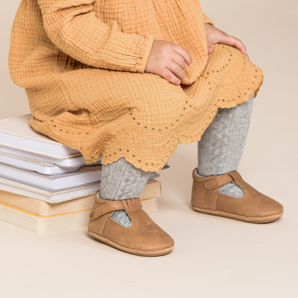 pretty brave morgan baby shoes in tan