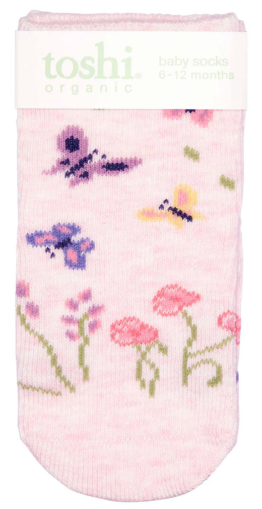 toshi baby socks in organic cotton in butterfly print