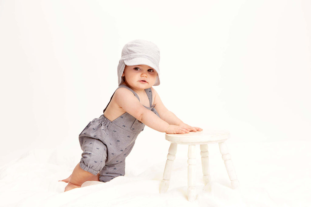 toshi baby flap cap sunhat in dove grey stripe