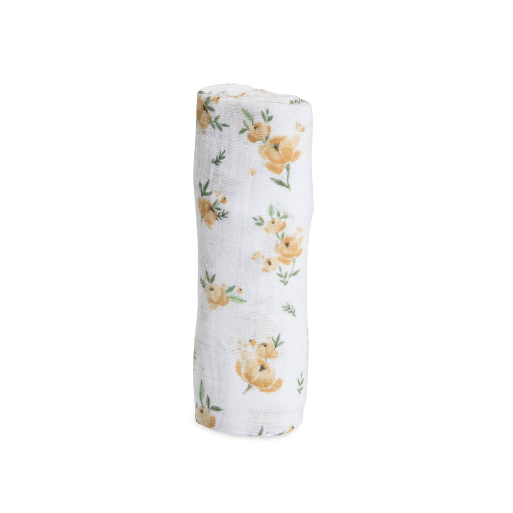 little unicorn cotton muslin swaddle in yellow rose