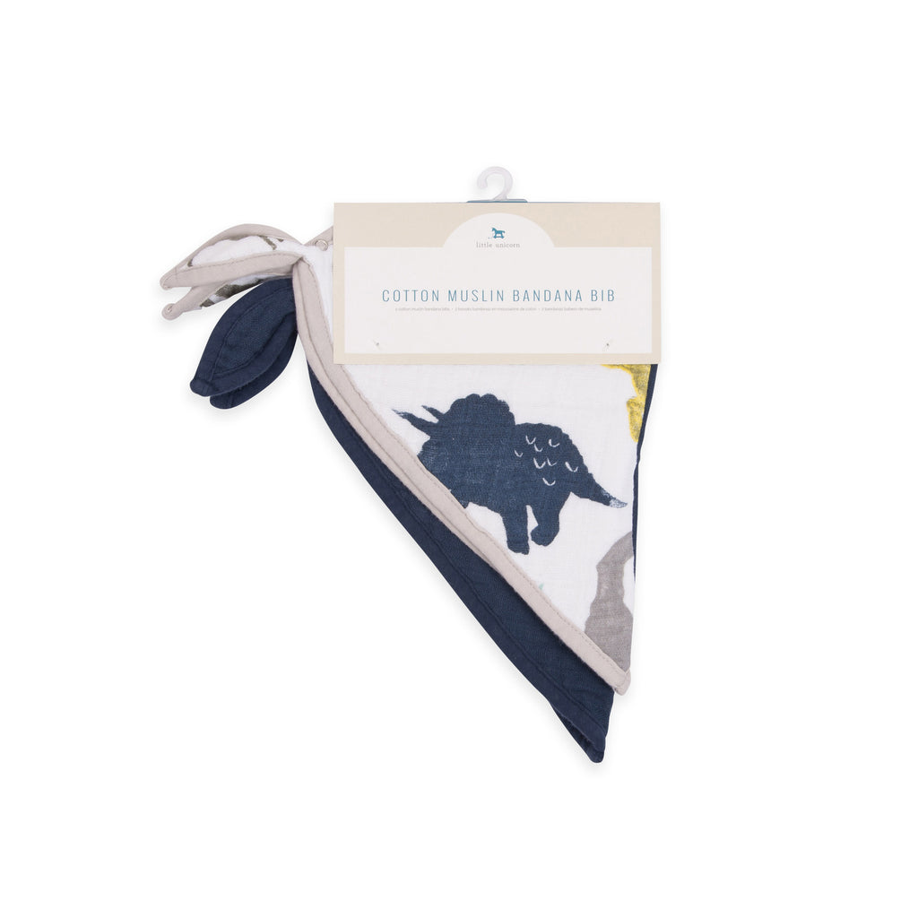 little unicorn cotton muslin bandana bibs set in dino