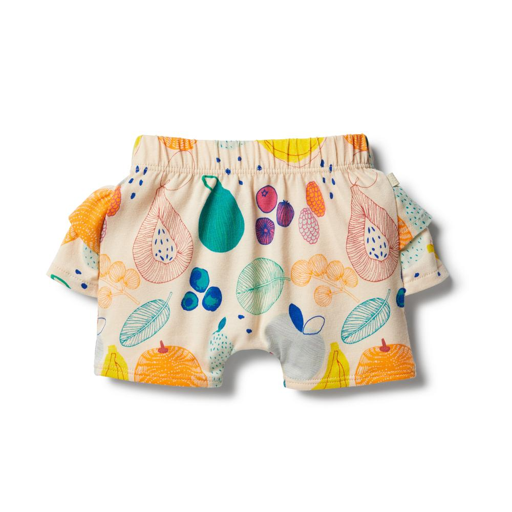 wilson & Frenchy fruit loop organic ruffle shorts
