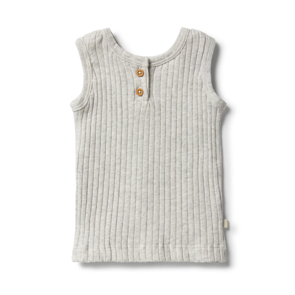 wilson & Frenchy baby wear organic rib tank in grey marle