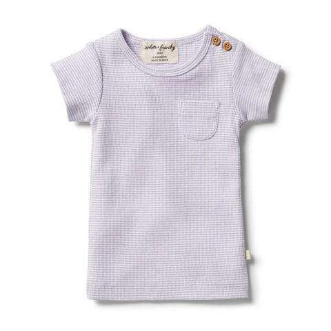 wilson & French organic stripe tee in lavender ecru