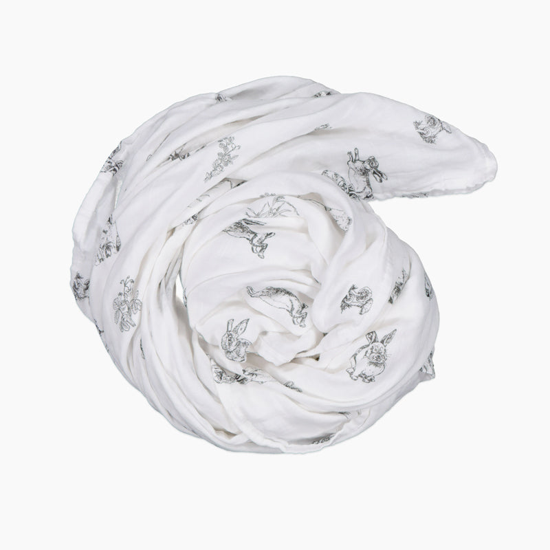 burrow & be muslin wrap in burrowers print