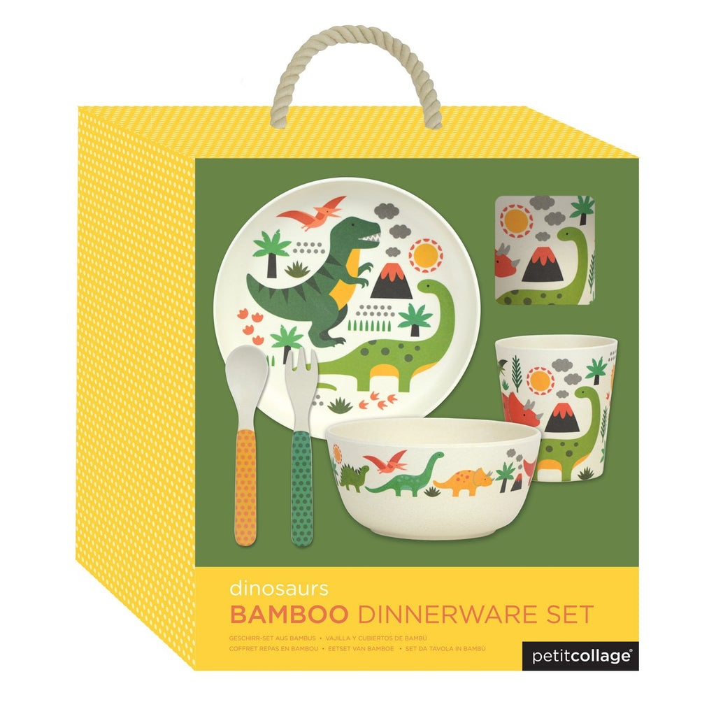 petit collage bamboo dinner set dinosaur print
