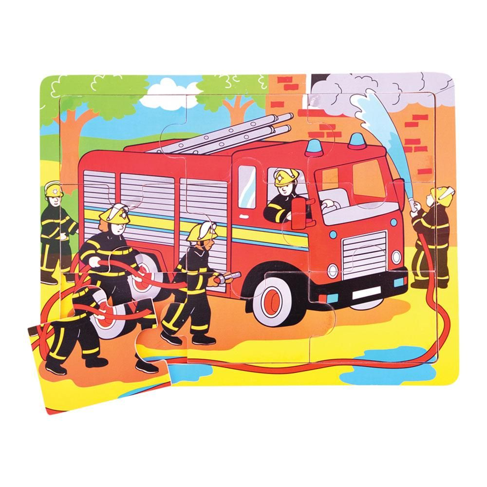 big jigs 9 piece wooden tray puzzle fire engine