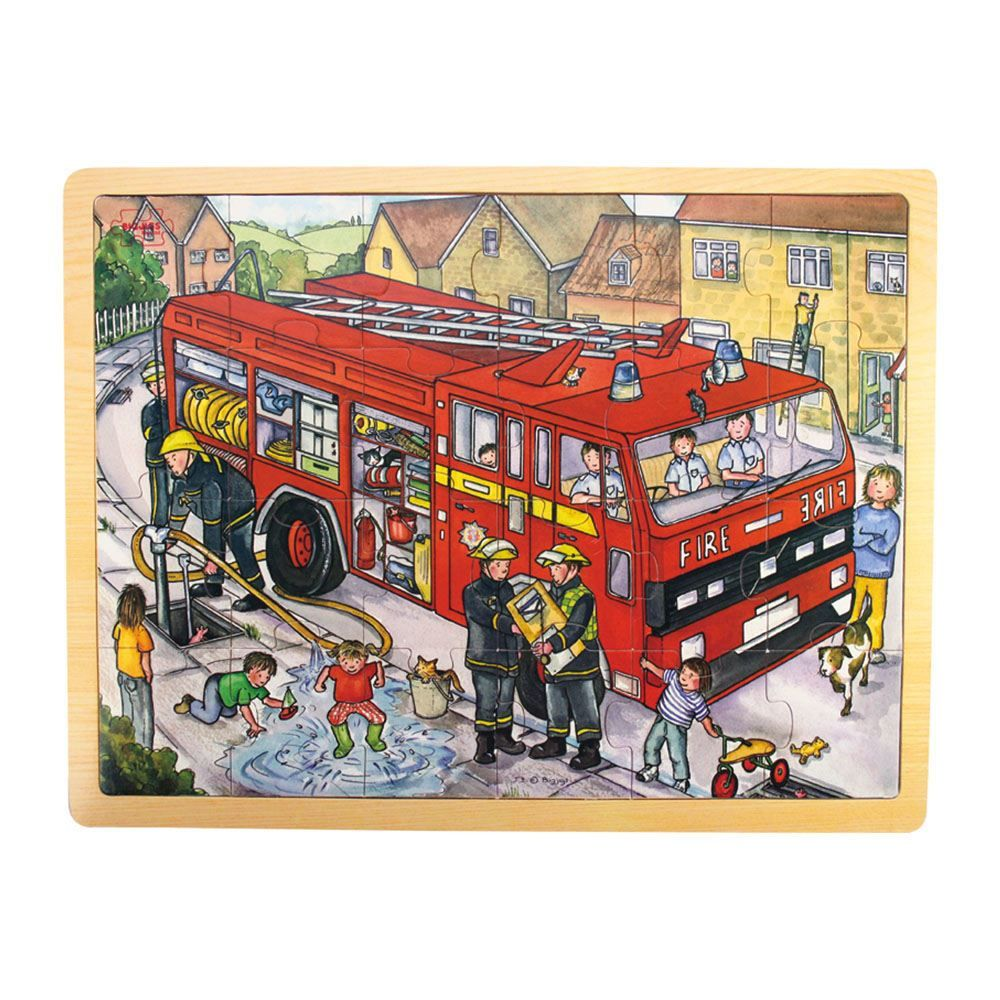 big jigs 24 piece wooden fire engine puzzle
