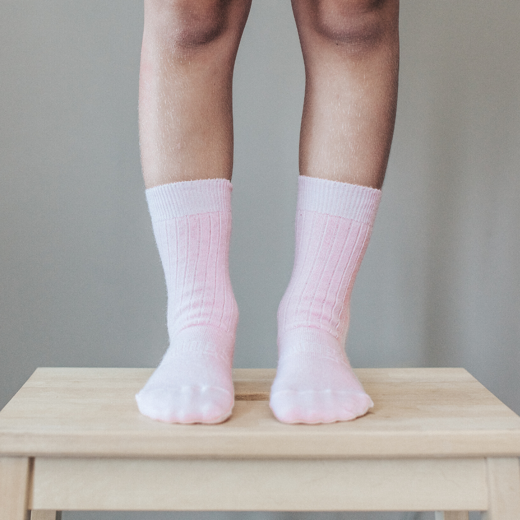 lamington merino socks kids  in crew length butterfly pink