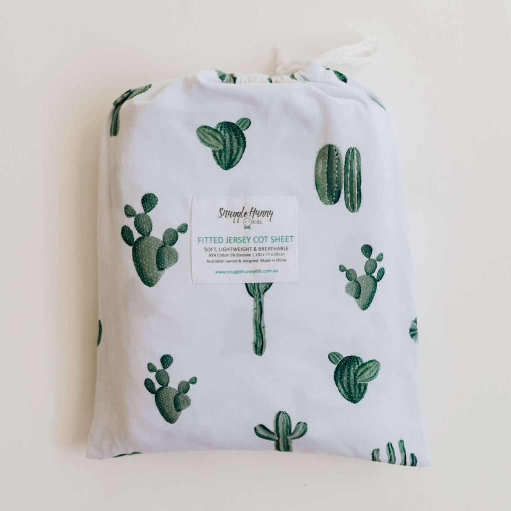 snuggle hunny kids fitted cot sheet in cactus print