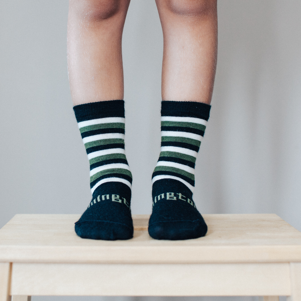lamington merino socks kids crew length in cadet stripe