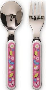 crocodile creek children's cutlery set backyard friends
