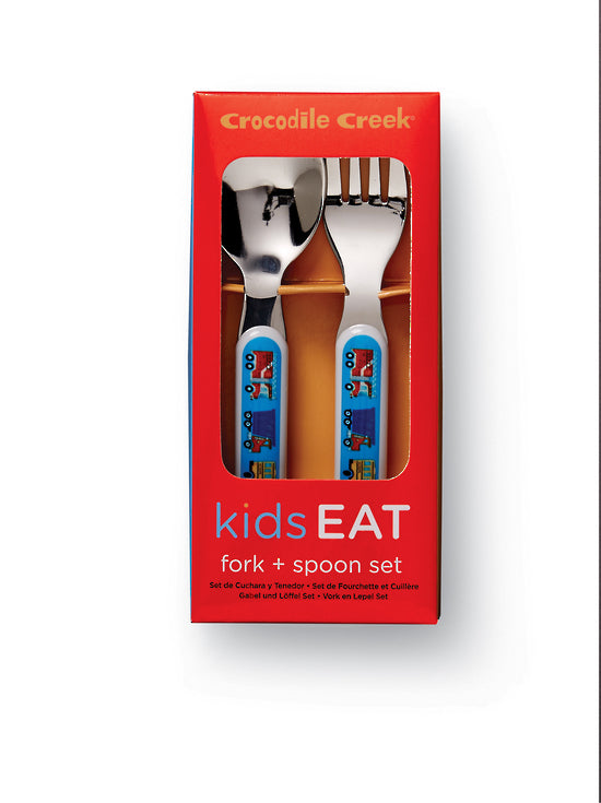 crocodile creek children's cutlery set busy city