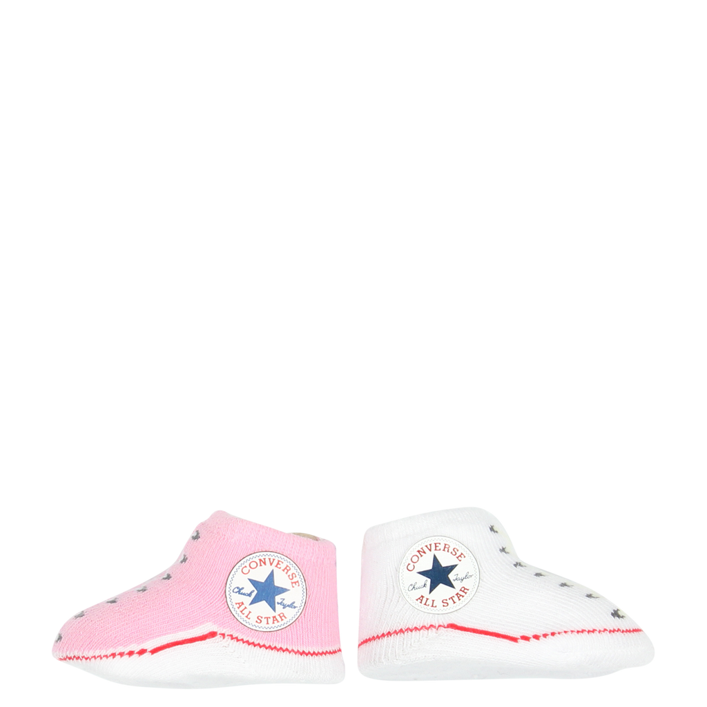 converse newborn baby booties chuck taylor socks in pink & white
