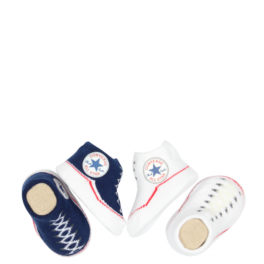 converse infant booties in navy white