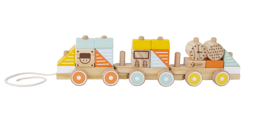 classic world wooden pull stacking train
