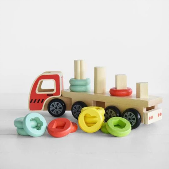 discoveroo sort & stack wooden toy truck
