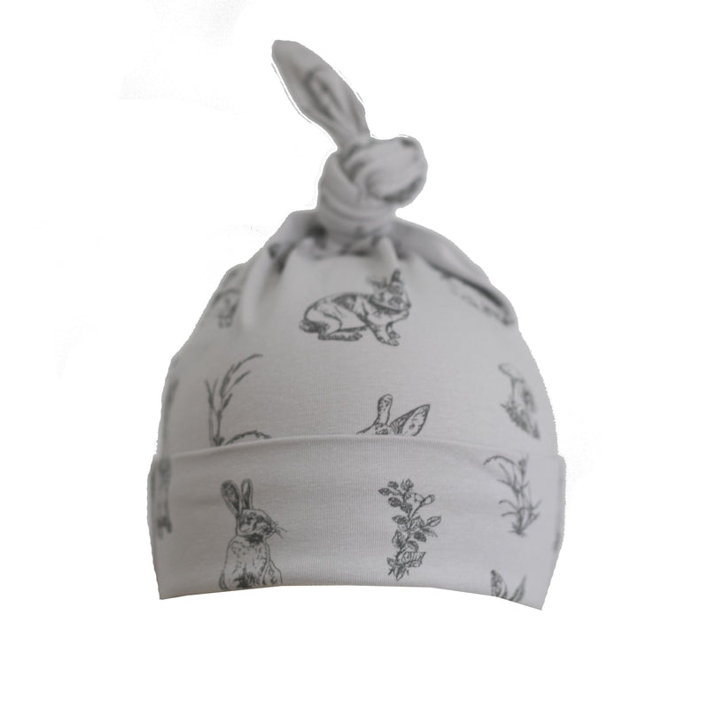 burrow & be grey burrowers top knot baby beanie