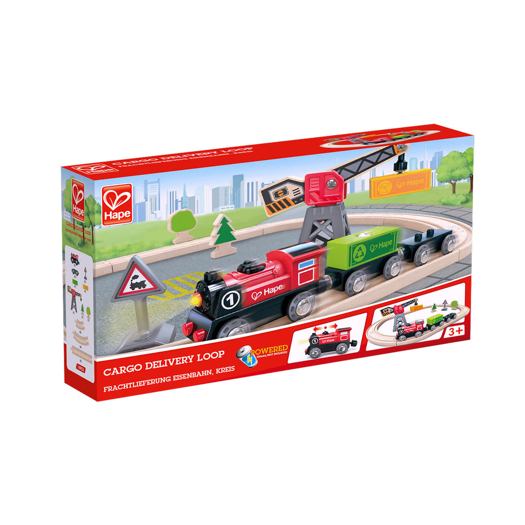 hape wooden train cargo delivery loop set