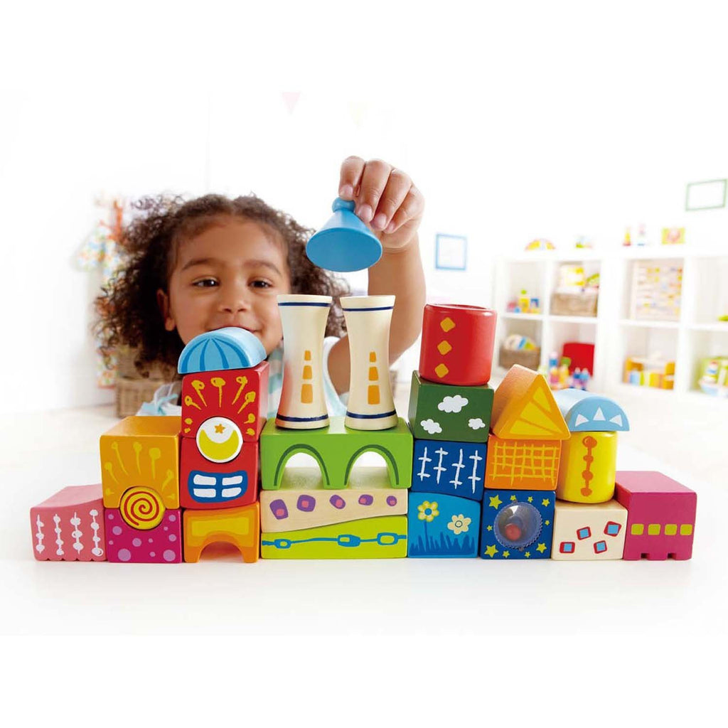 hape fancy castle wooden blocks