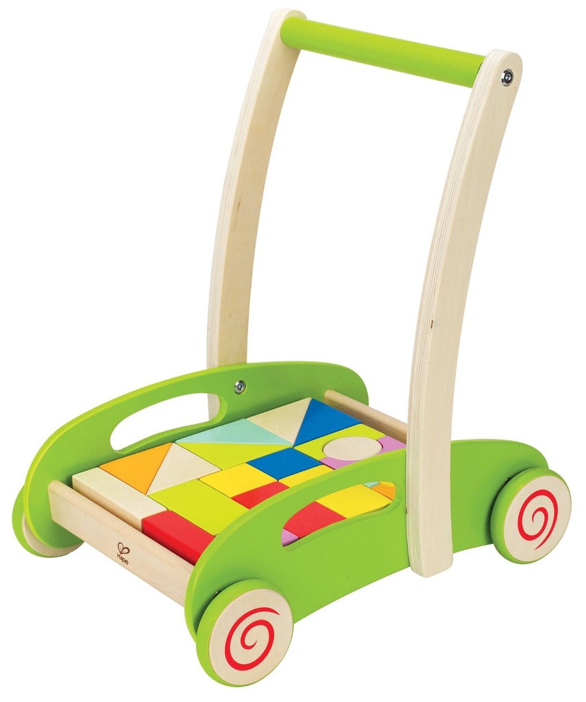 hape wooden push along cart