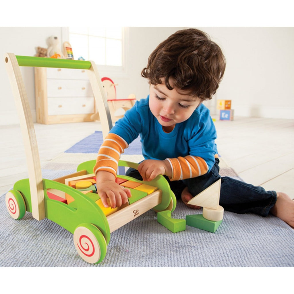 hape wooden push along trolley